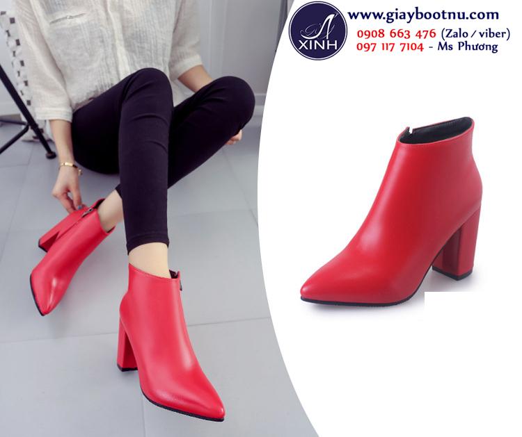 Giày boot nữ cổ ngắn màu đỏ sành điệu GBN16202