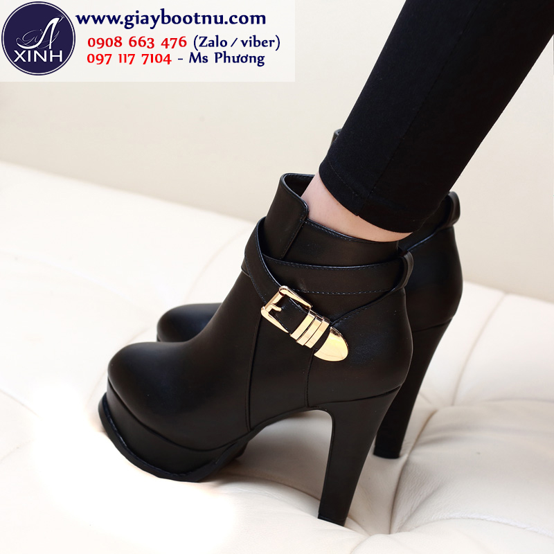 Giày boot nữ cổ ngắn sành điệu 10cm màu đen GBN178