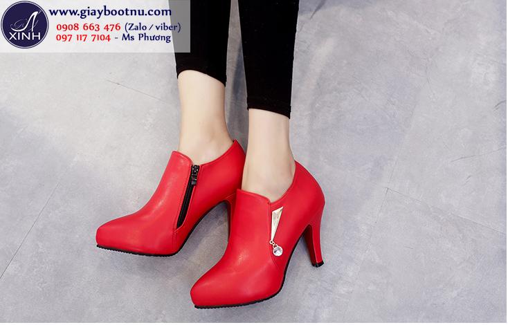 Giày boot nữ cổ sâu sành điệu màu đỏ GBN17902