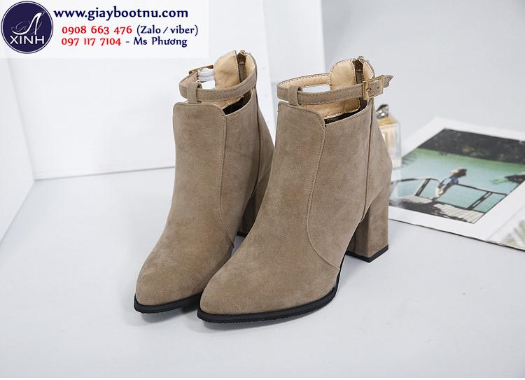 Boot nữ cổ ngắn màu da trẻ trung cao 7cm GBN18002