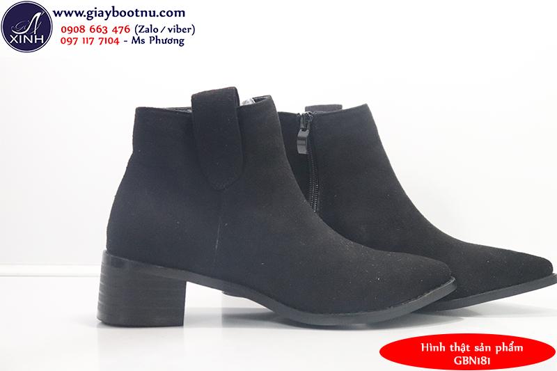 Giày boot nữ cổ ngắn đế trệt đơn giản hiện đại GBN181