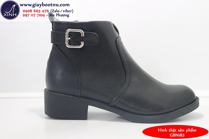 Giày boot nữ cổ ngắn da bóng đi bộ GBN182