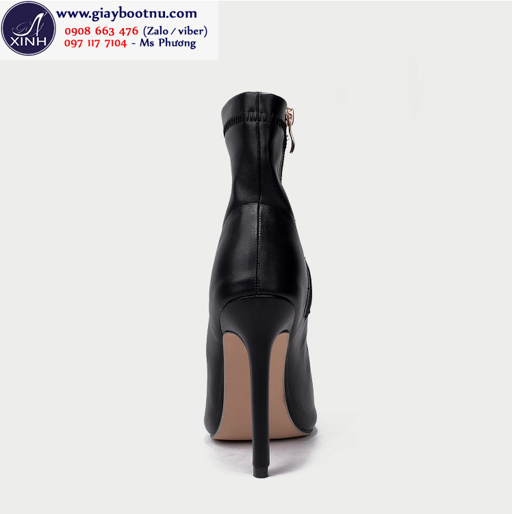 Giày boot nữ hở mũi cổ lửng da bóng ôm chân GBN193