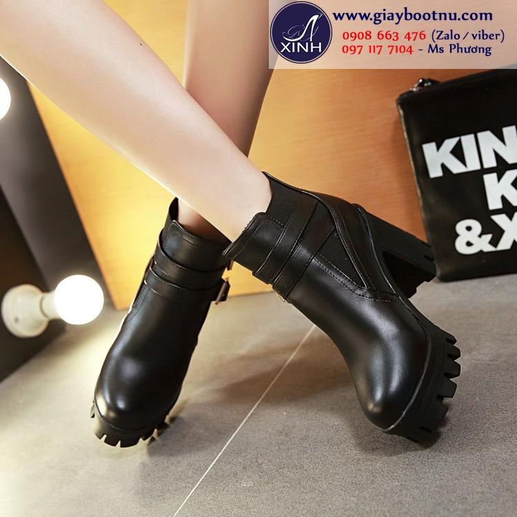 Boot nữ đế thô màu đen sành điệu GBN19601