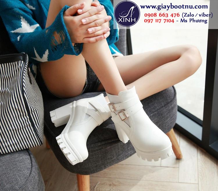 Giày boot nữ đế thô màu đen sành điệu GBN19602