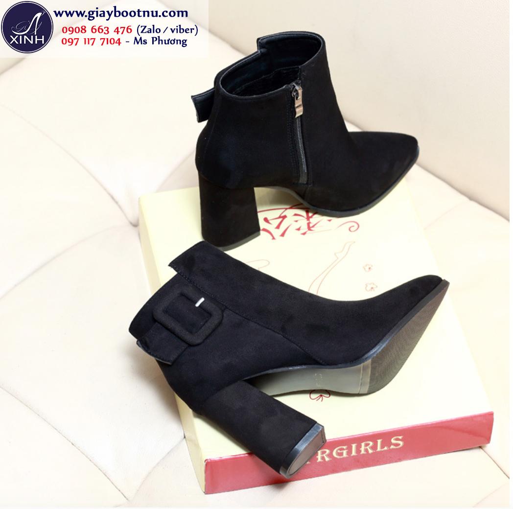 Giày boot nữ da lộn đế vuông màu đen sang chảnh GBN198