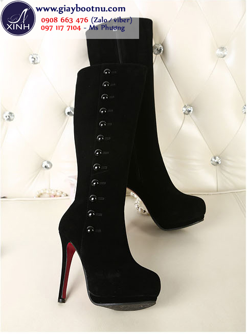 Giày boot nữ da lộn cao dưới gối sang trọng GCC0301
