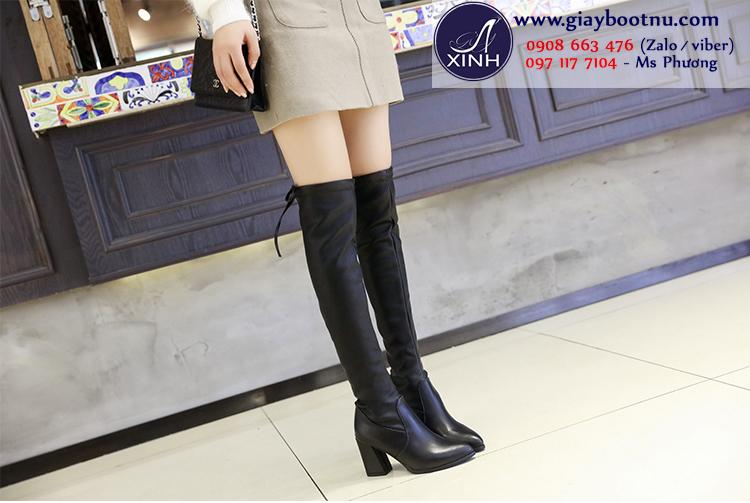Giày boot nữ cổ cao gót vuông ngang đùi da bóng GCC0801
