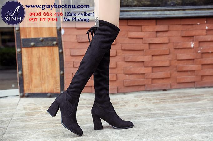 Giày boot nữ cổ cao gót vuông ngang đùi da lộn GCC0802