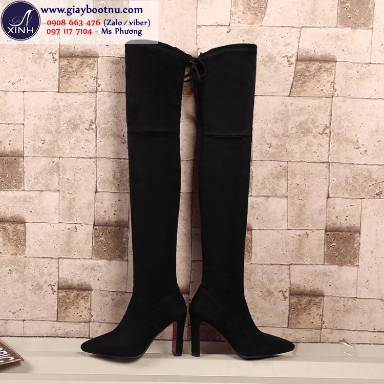 Giày boot nữ cổ cao ngang đùi da lộn hiện đại GCC1001