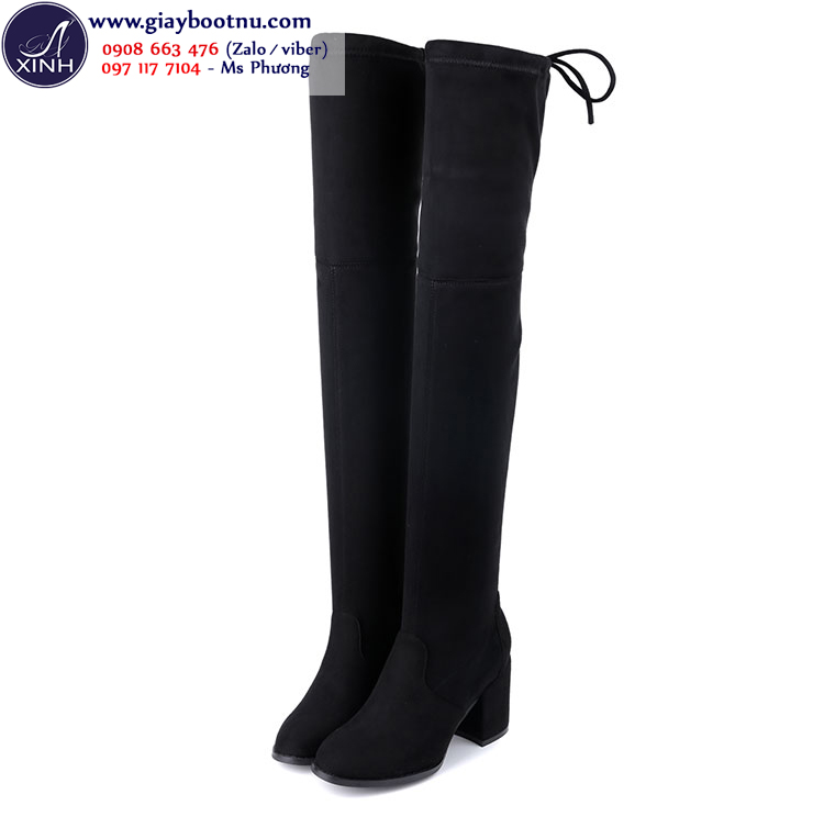 Giày boot nữ cổ cao qua gối cao 7cm da lộn GCC1901
