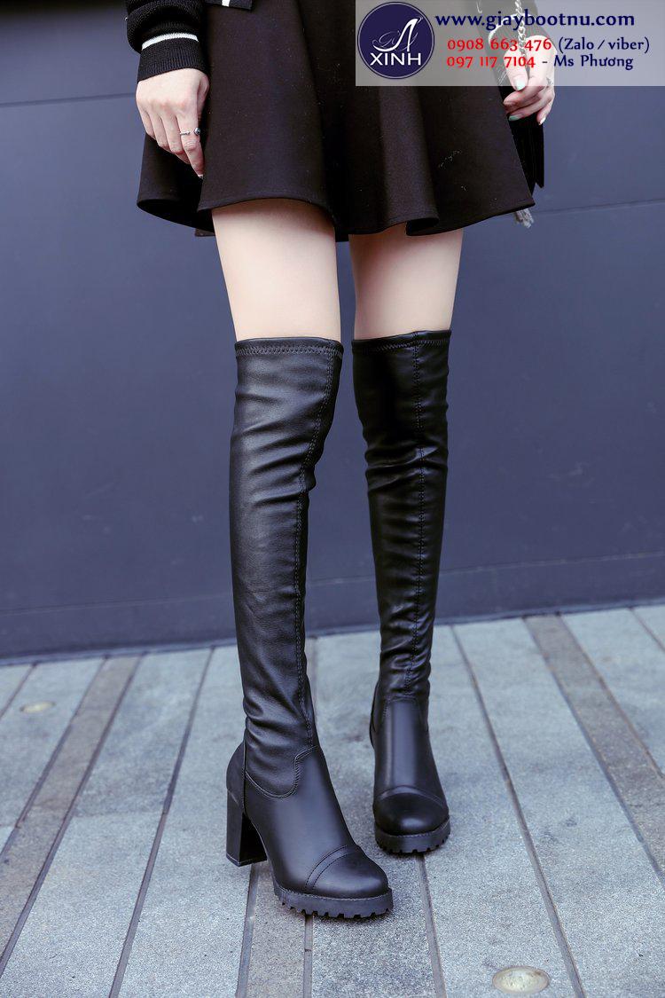 Boot nữ ngang đùi đế vuông sành điệu GCC21