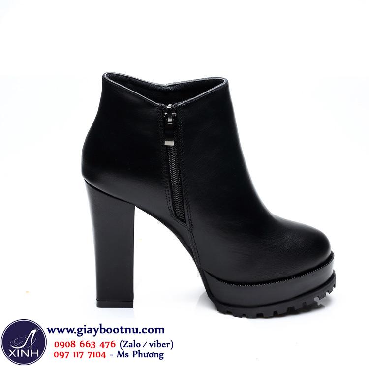 Giày boot nữ cổ ngắn cao gót đơn giản 11cm GBN07