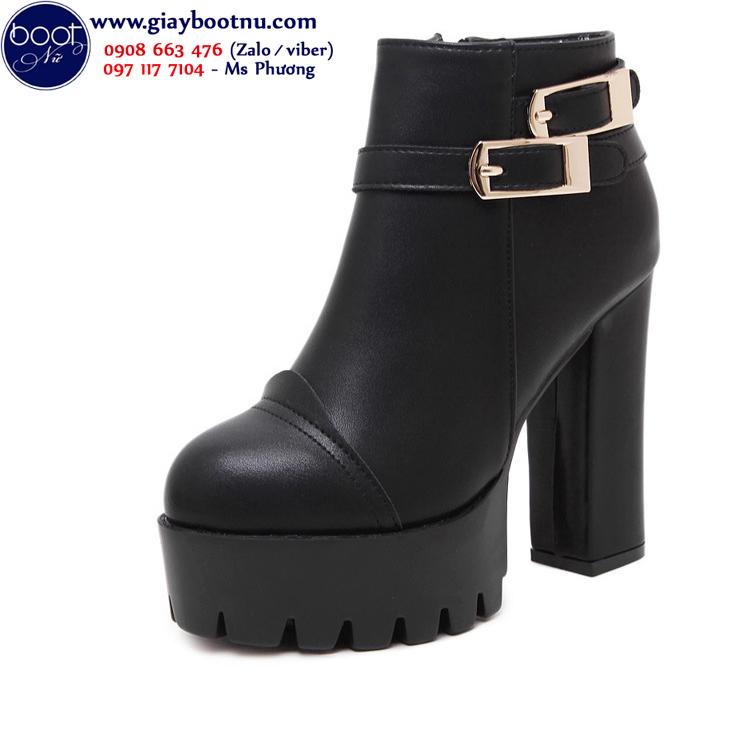 Boot nữ cổ ngắn đế thô sành điệu cao gót GBN170