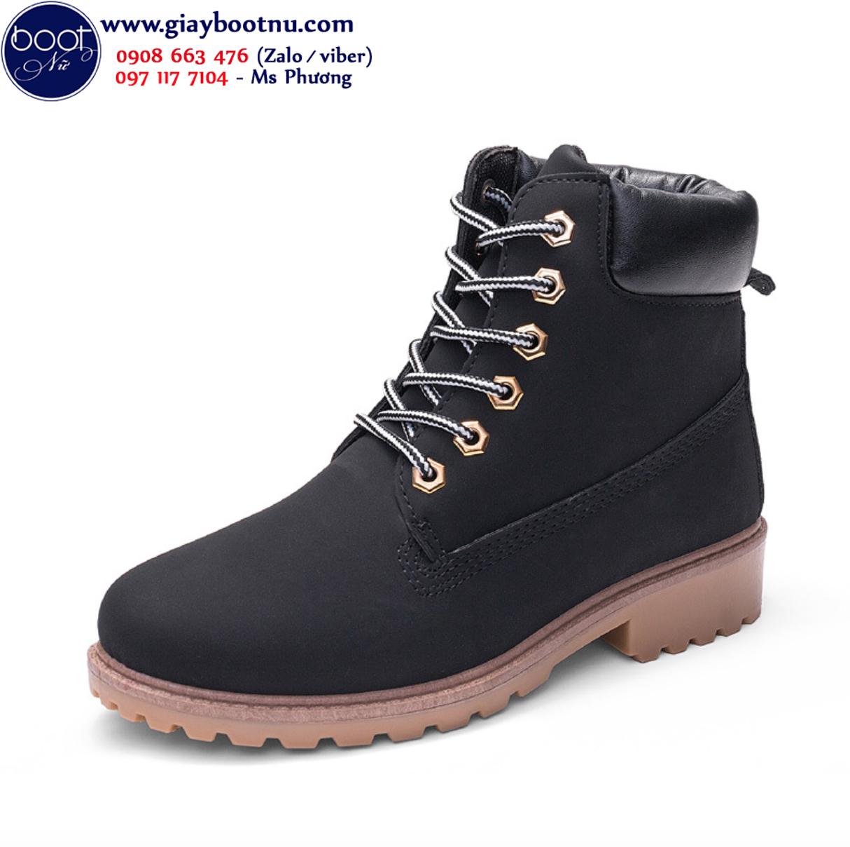 Giày boot nư cột dây màu đen cá tính GBN18501