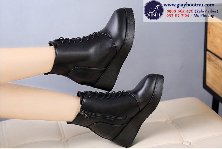 Giày boot nữ độn đế cột dây trẻ trung GBN01