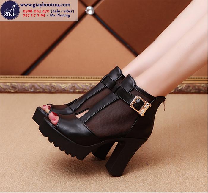 Giày boot nữ hở mũi đen sành điệu GBN20101