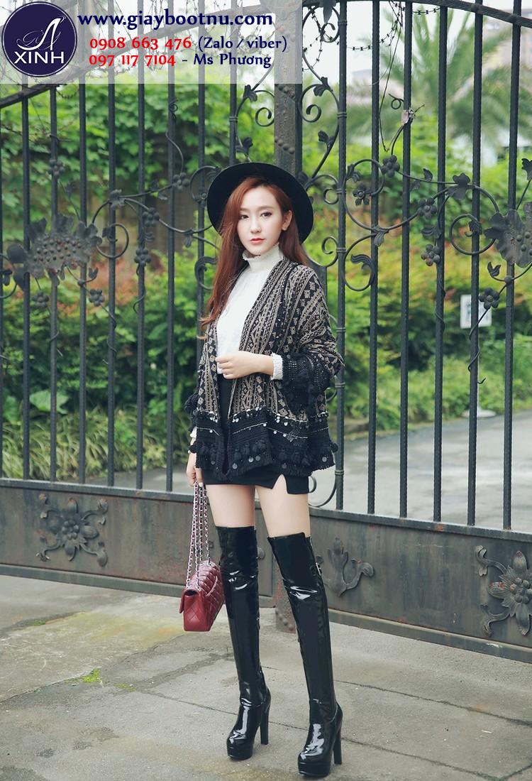 Giày boot nữ ống cao da bóng đen sành điệu GCC3301
