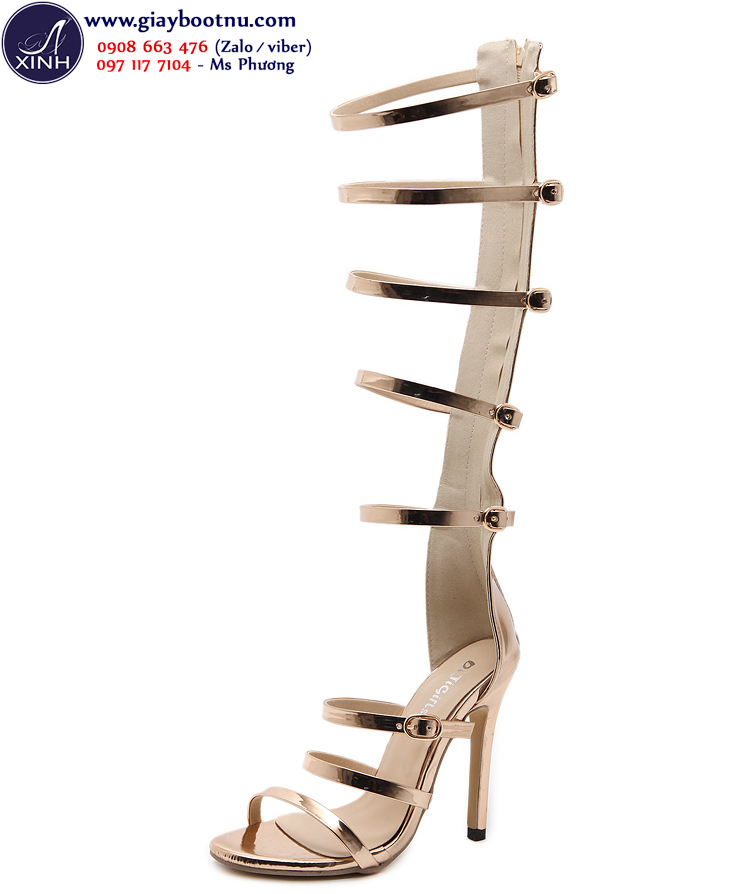 Sandal dây ống cao sành điệu màu vàng đồng GCC38