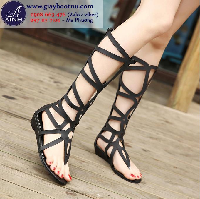 Sandal dây cổ cao dưới gối đế trệt màu đen GCC3901