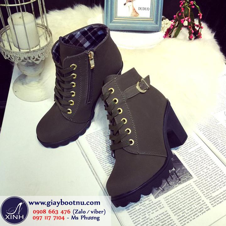 Giày boot nữ cổ ngắn cá tính màu xanh rêu GBN2702