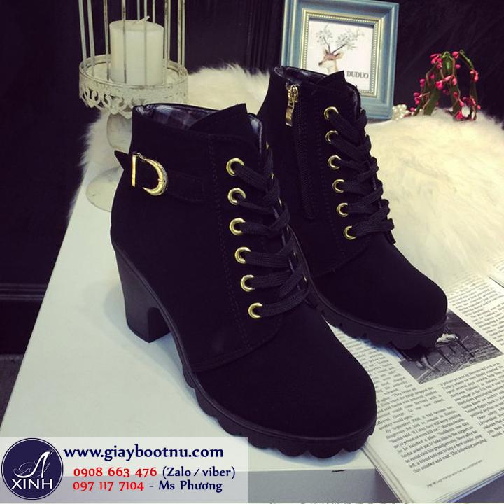 Giày boot nữ cổ ngắn da lộn năng động GBN2701