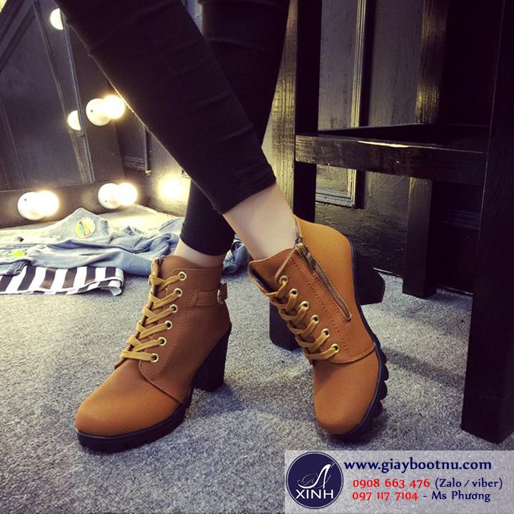 Giày boot nữ cổ ngắn màu da bò khác lạ GBN2703